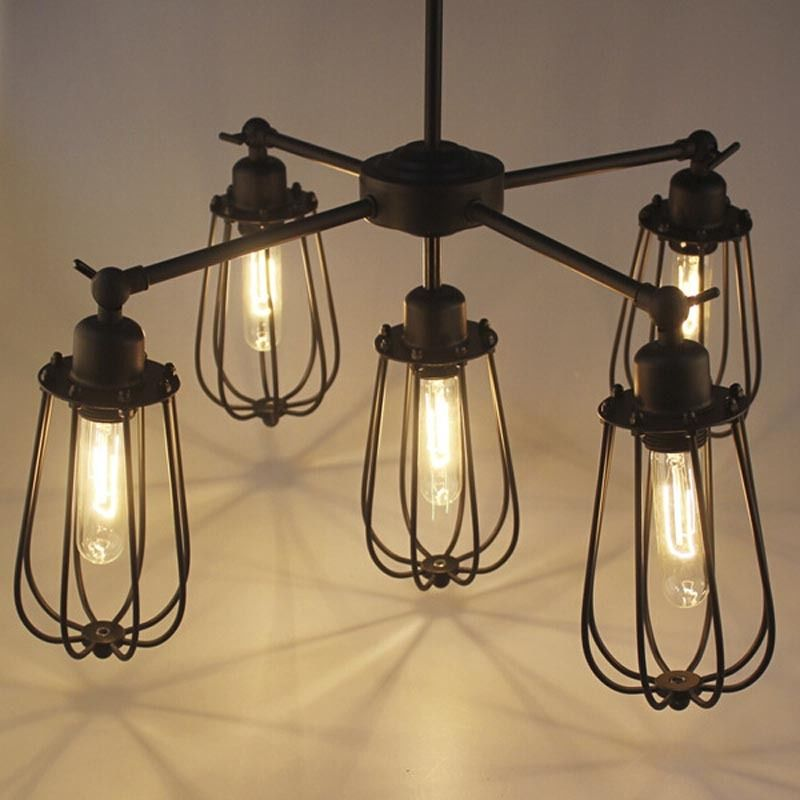 Retro Industrial Vintage Rustic Pendant Lamp Warehouse Wire Cage Ceiling Light