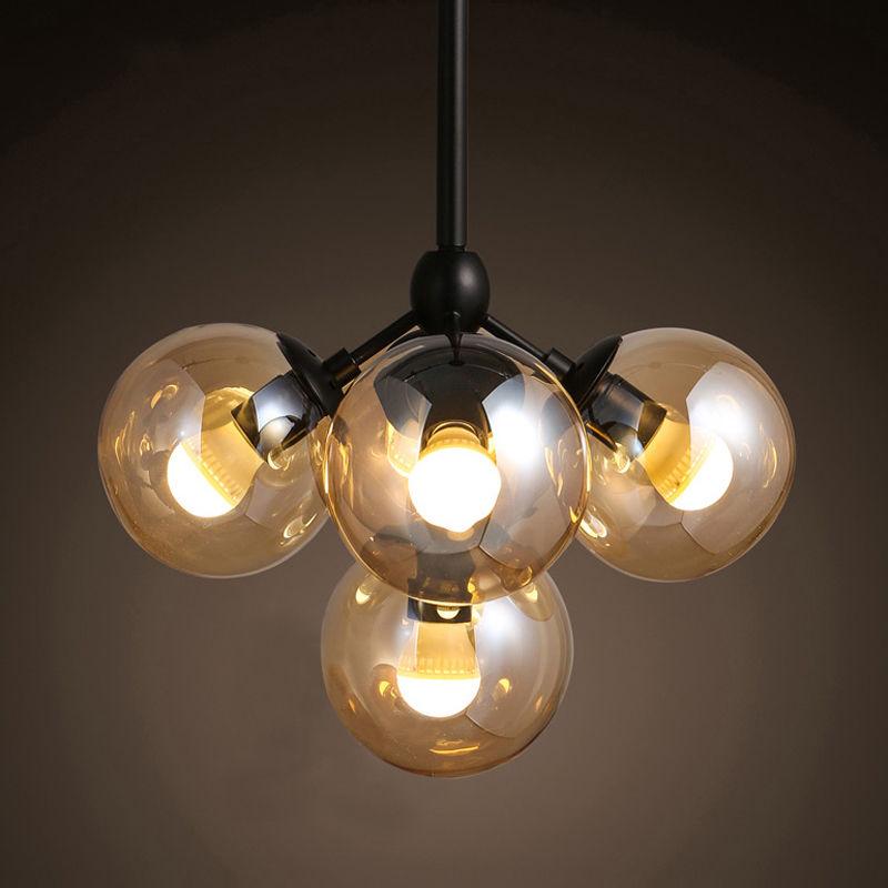 4-Light Industrial Globe Pendant Lamp Led Glass Ball Ceiling lights Fixture
