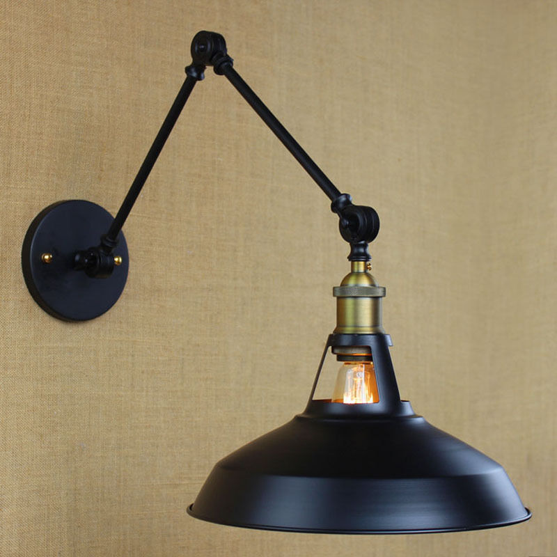 Vintage Industrial Finished Dome Swing Arm Sconce Adjustale Wall Lamp