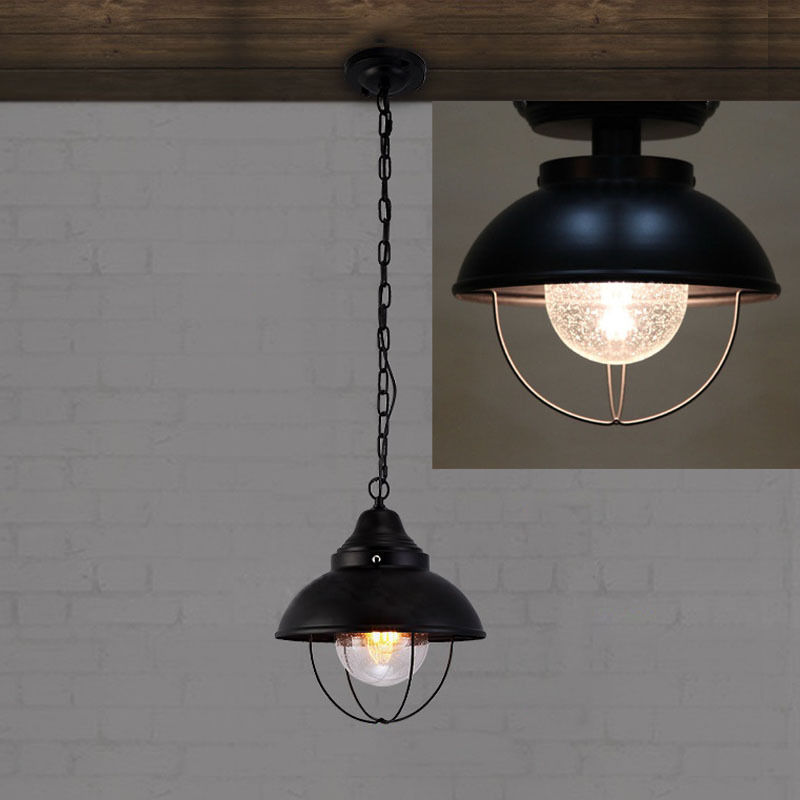 Modern Industrial Metal Cage Outdoor Ceiling Lighting Fixture Pendant/Semi Flush Mount