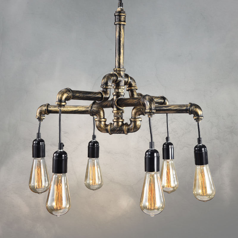 4/6-Lights Industrial Vintage Pendant Water Pipe Lamp Steampunk Ceiling Chandelier