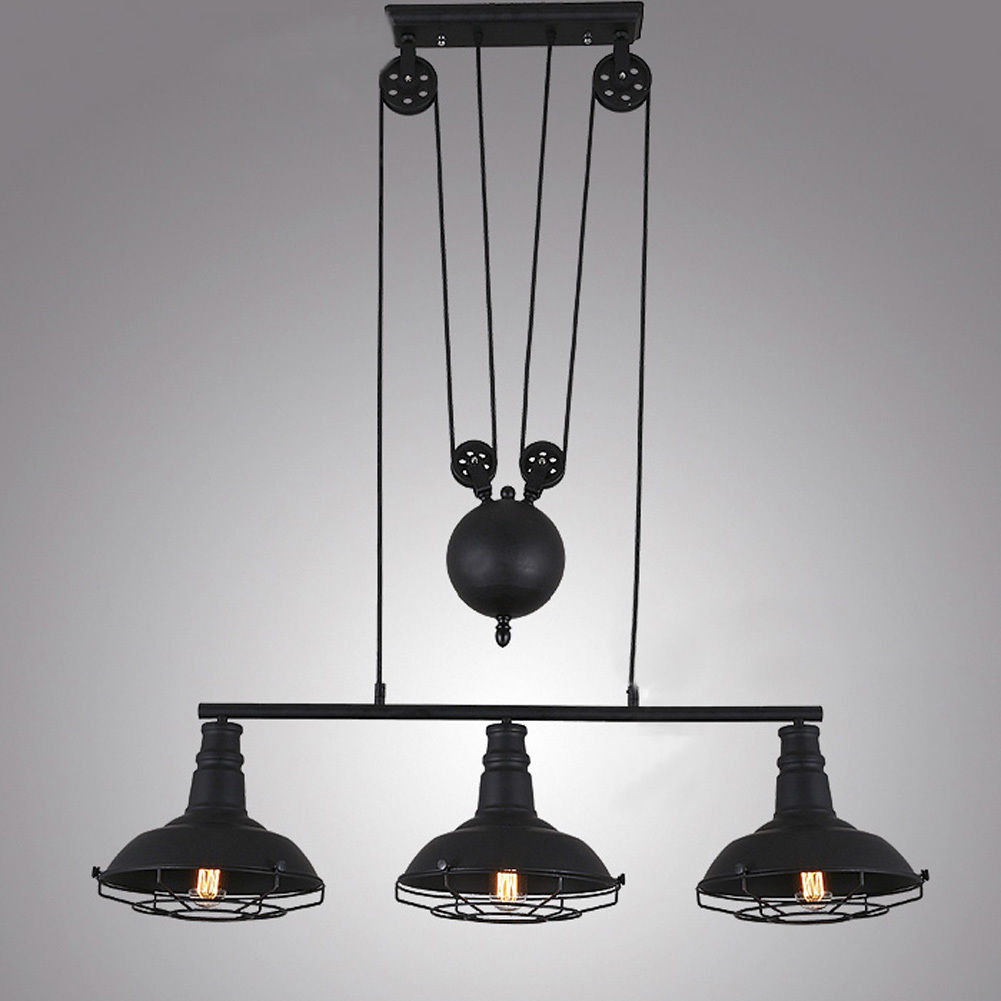 3-Light Industrial Pulley Cage Light Indoor Adjustable Pendant Lamp Black