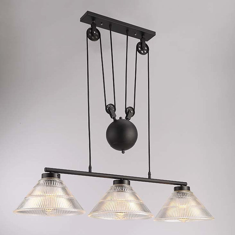 3-Lights Vintage Edison Industrial Pulley Pendant Light Adjustable Wire Lamps