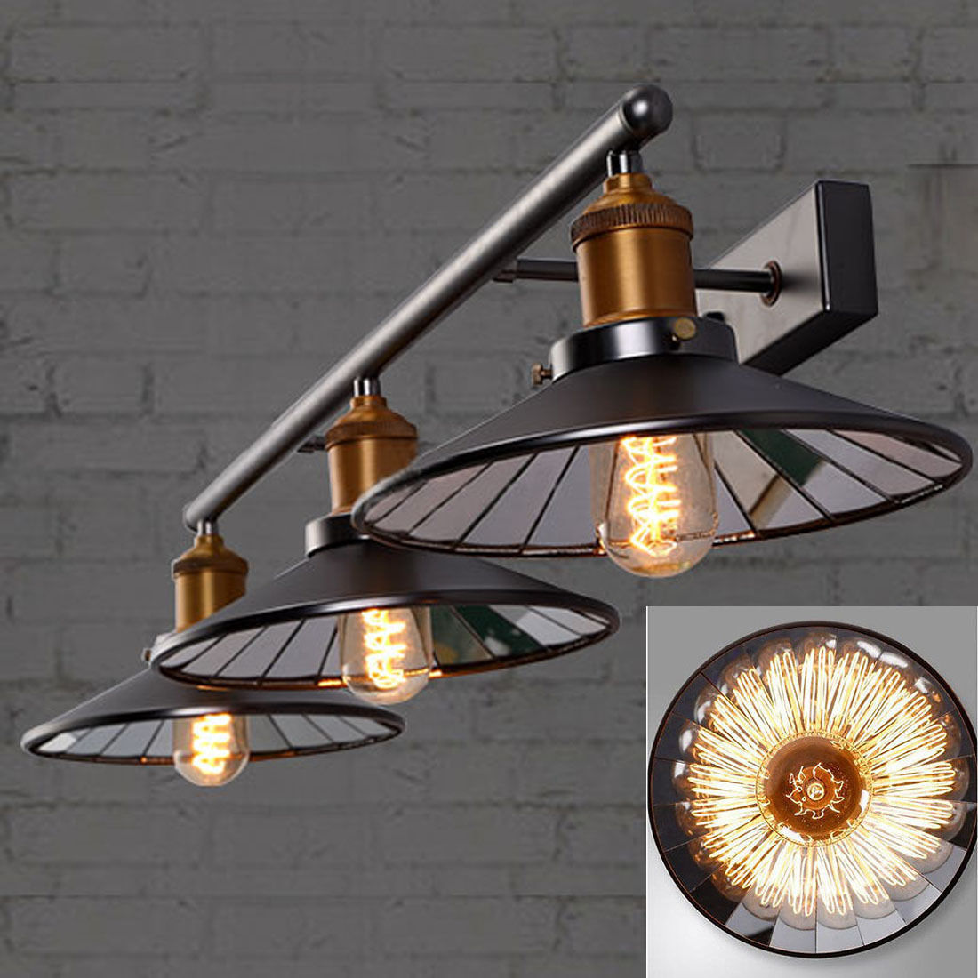 3-Lights Industrial Mirror Shade Wall Lights Loft Metal Wall Sconce Lamp Fixture