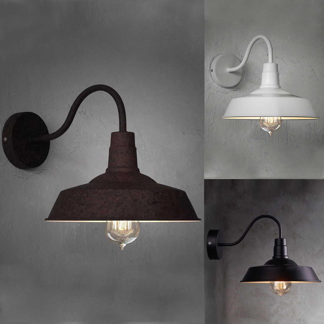 White/Black Vintage Loft Industrial Style Barn Gooseneck Big Wall Lamp Sconce