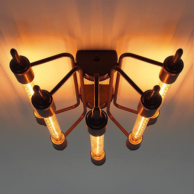 Industrial T30 Bulb 5-Light Steampunk Close to Ceiling Light Retro