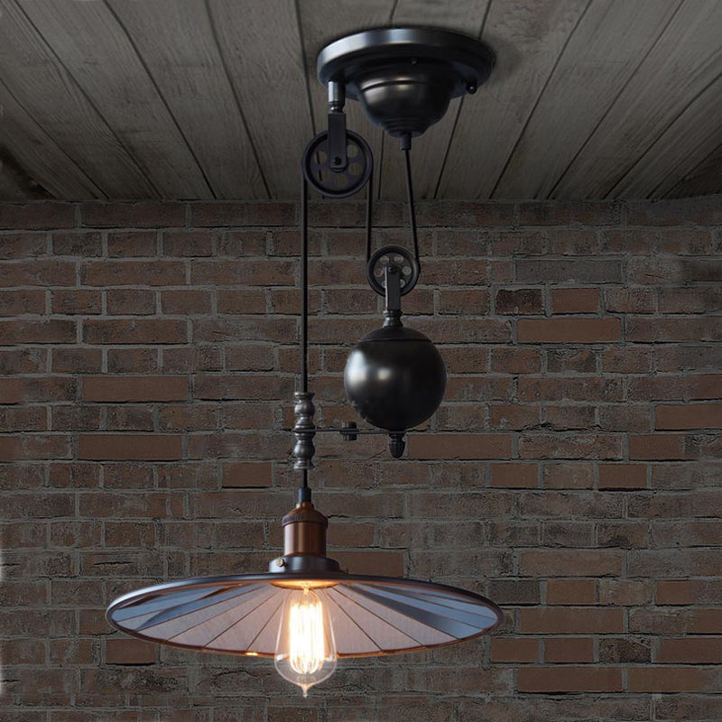 Vintage Edison Industrial Pulley Mirror Pendant Light Adjustable Wire Retractable Lamp