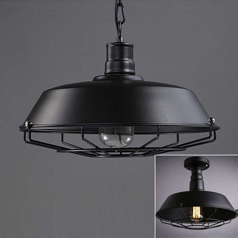 Industrial Wrought Iron Cage Pendant Lamp Steampunk Ceiling/Flushmount