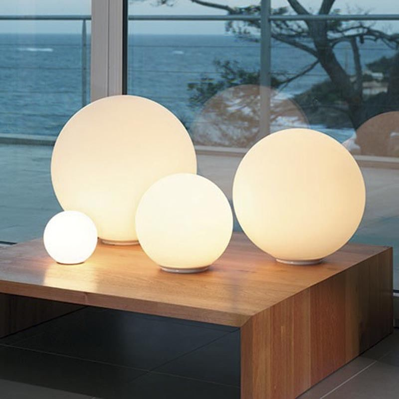 Modern Simple White Glass Globe Linear Table Light Minimal Beside Desk Lamp