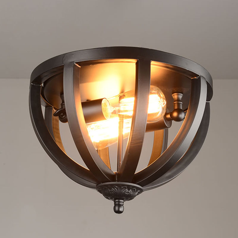 Black Industrial Ceiling Light Fixture Wrought iron 2 Light Flush Mount Light