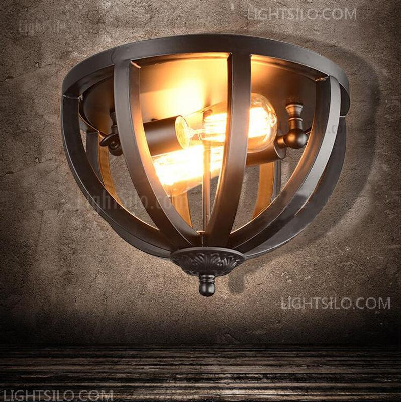 low priced 9c418 3c9d1 Black Industrial Ceiling Light Fixture Wrought iron 2 Light Flush Mount  Light