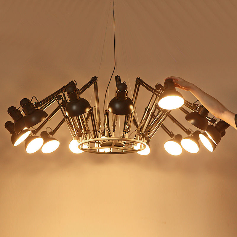 Modern Big Spider LED Chandelier Ceiling Light Retractable Pendant Lamp Black/White