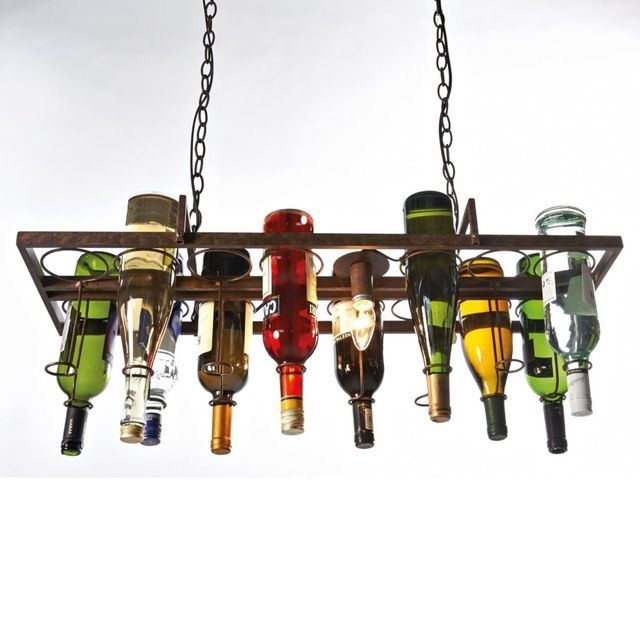Vintage Retro Style Wine Bottle Glass Pendant Light Fixture