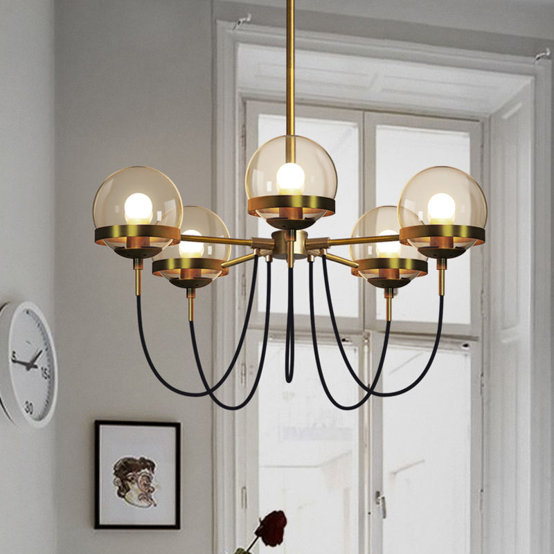 Vintage Glass Ball Pendant Lamp Retro Chandelier Light Gloden/Black Finish