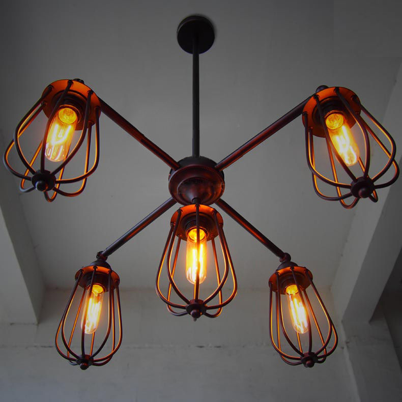 5 Arms Adjustable Cage Industrial Black Iron Ceiling Light FIxture