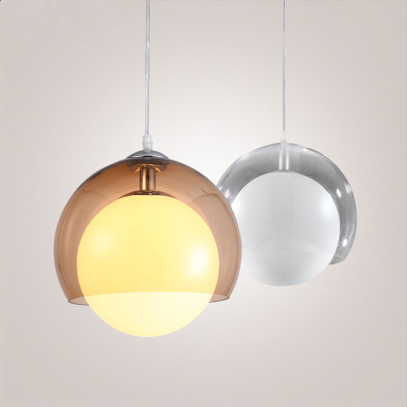 Clear/Brown Modern Glass Ball LED Pendant Lamp Chandelier Ceiling lights