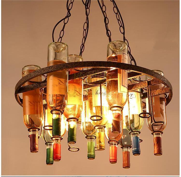 Vintage Style Wine Bottle Kitchen Dining Round Pendant Lamp Lighting