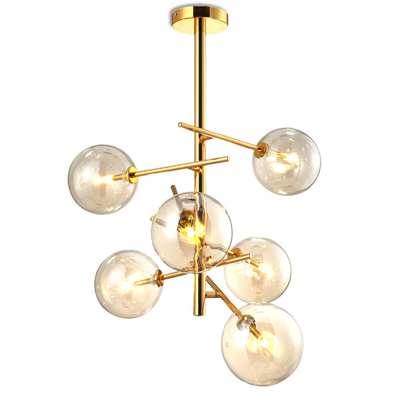 Modern Gloden 6 Glass Balls Pendant Light Ceiling Fixtures