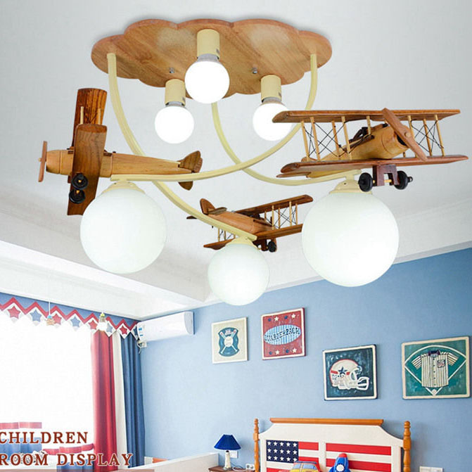 3-Light Modern Wood/Iron Plane Aircraft Flush Mount Ceiling Light