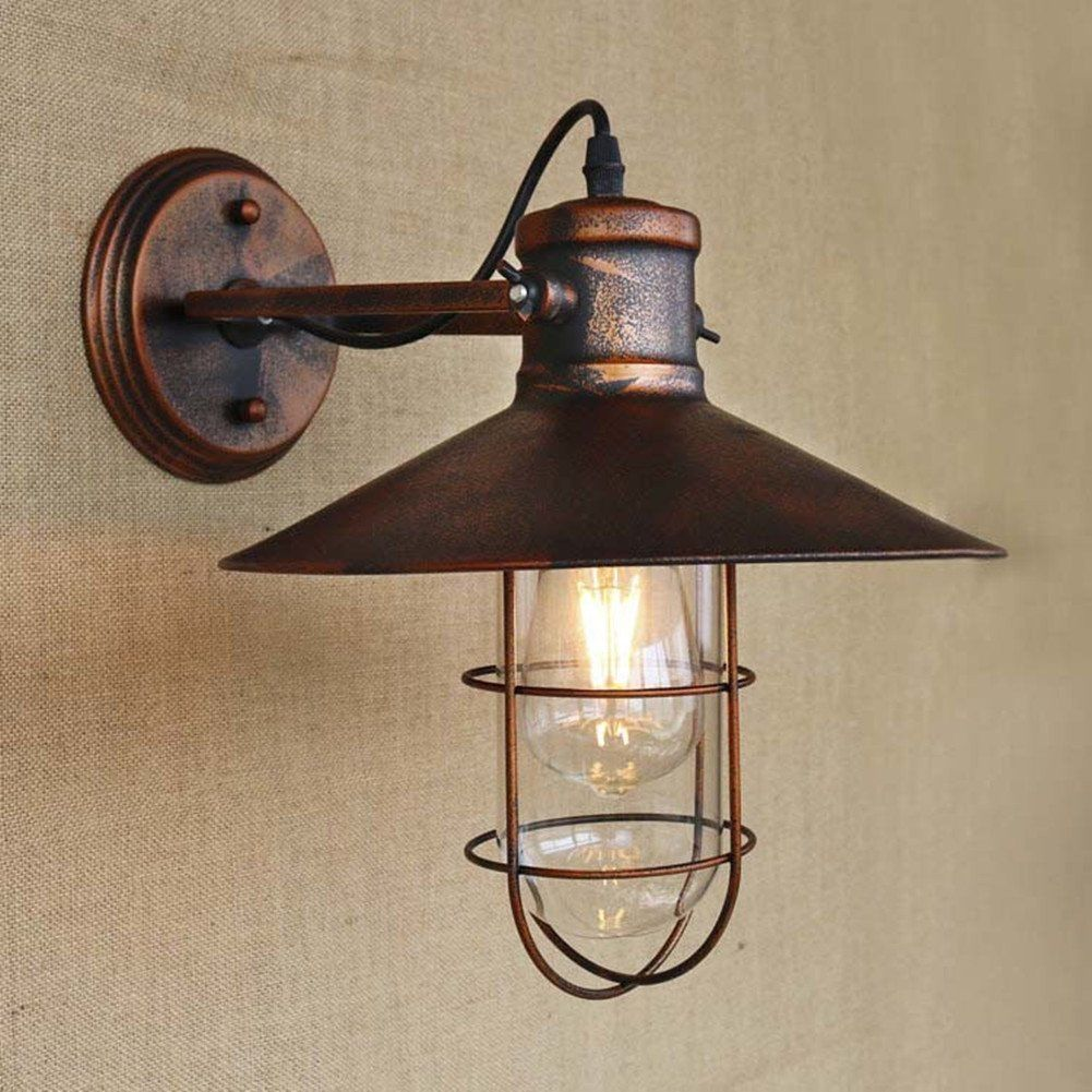 Industrial Retro Vintage Cage Single Light Metal Copper Nautical Wall Light E26/E27