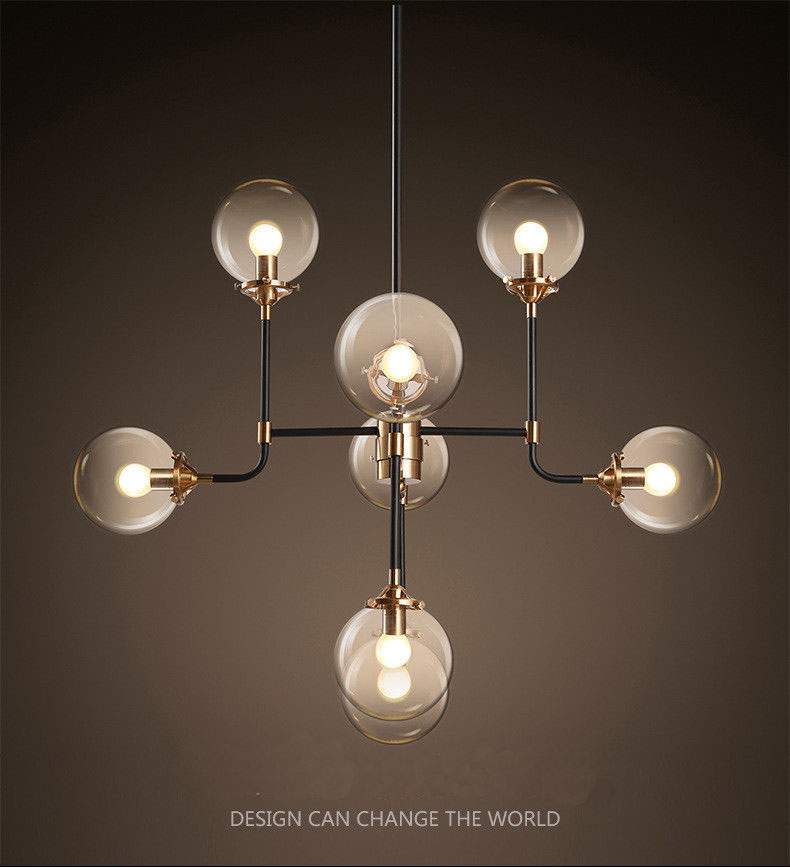 8 Heads Modern DNA Glass Bubble Pendant Ceiling Lamp Lighting