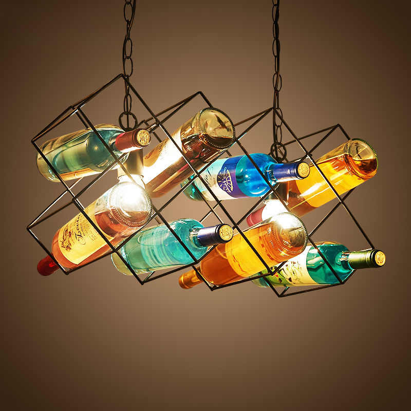 Nordic Glass Bottles Metal Pendant Lamp Ceiling Light