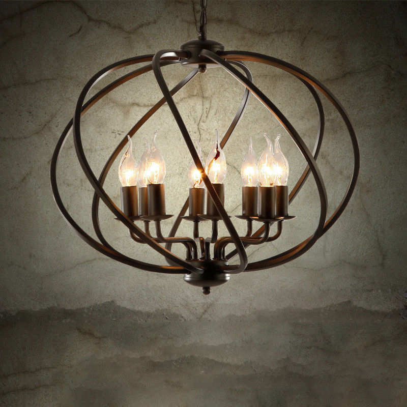 Industrial Caged Pendant With Rivets: Industrial Vintage Metal Cage Chandelier Large Orb Candle