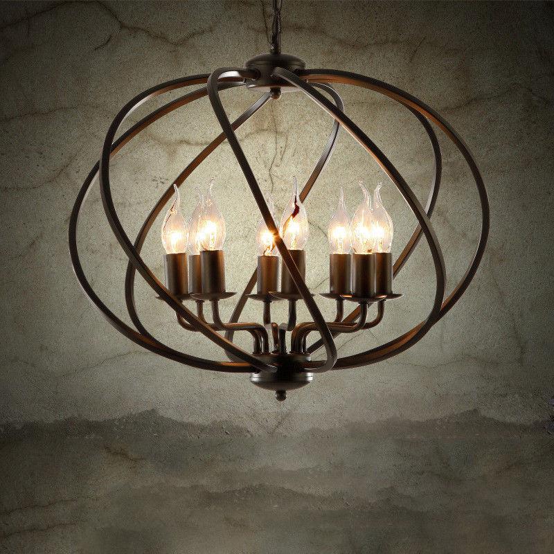 Vintage Metal Cage Chandelier Large Orb Candle Foyer Pendant Light