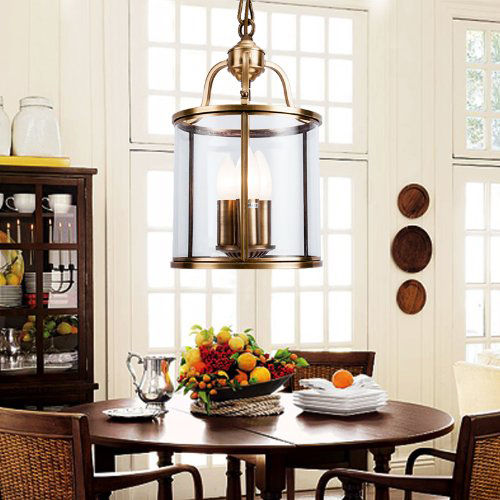 Classic 3 Candle Light Solid Brass Cylindrical Ceiling Lamp Hanging Pendant