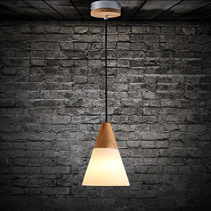 Wood Fabric Pendant Light Kitchen Chandelier Fixture Modern Ceiling Hanging Lamp