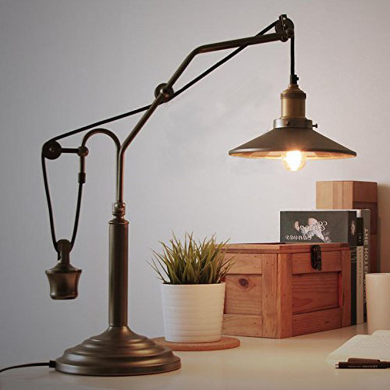 Vintage Adjustable Desk Lamp Table Lamp Light Antique Loft Farmhouse Fixture