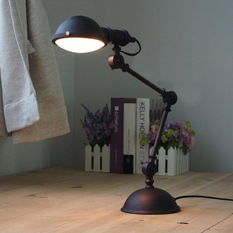 Industrial Vintage Desk Lamp Adjustable Bronze Metal Table Lamp Single Light