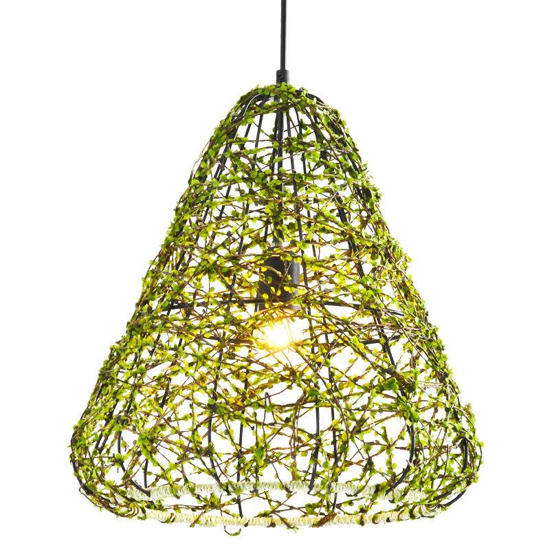 Green Cage Rattan Pendant Lamp Lighting
