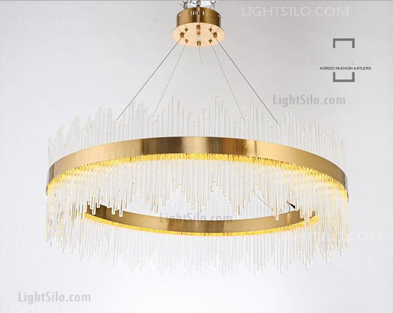 cheaper 054a8 652bc Modern Copper Luxury Crystal Round LED Pendant Lamp Gold Ceiling Light
