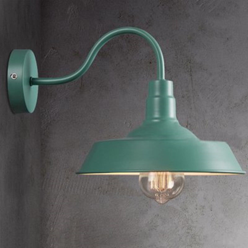 Green Metal Retro Industrial Gooseneck Barn Wall Sconce Vintage Light Shade