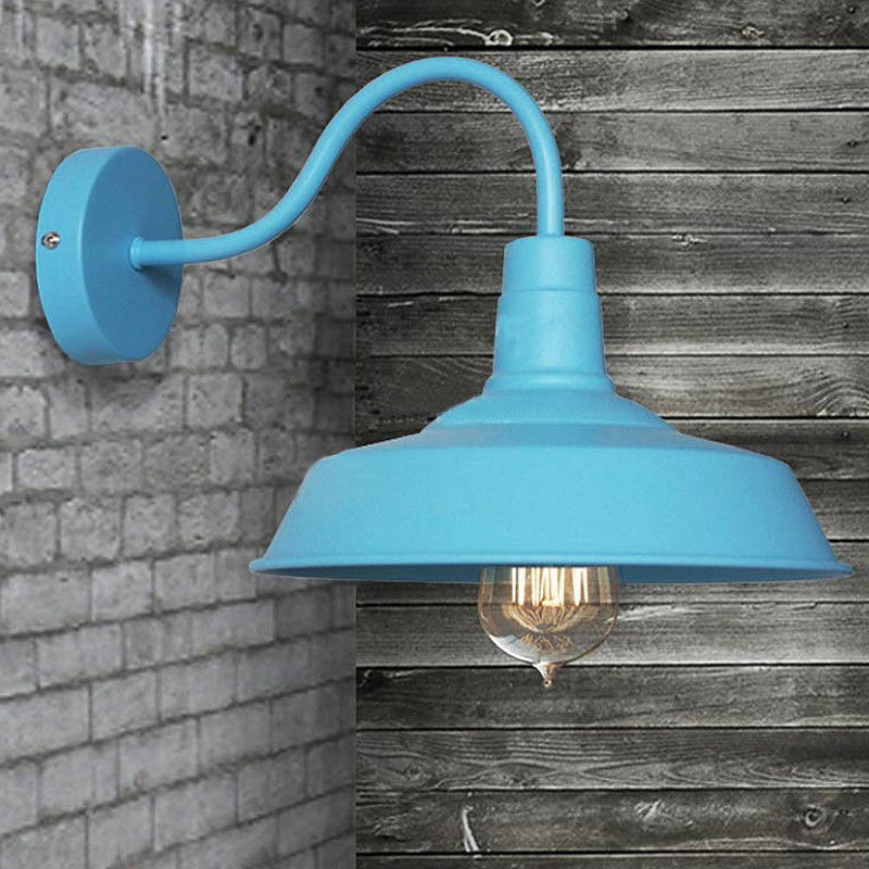 Vintage Industrial Blue Gooseneck Warehouse Wall Lamp Sconce Outdoor