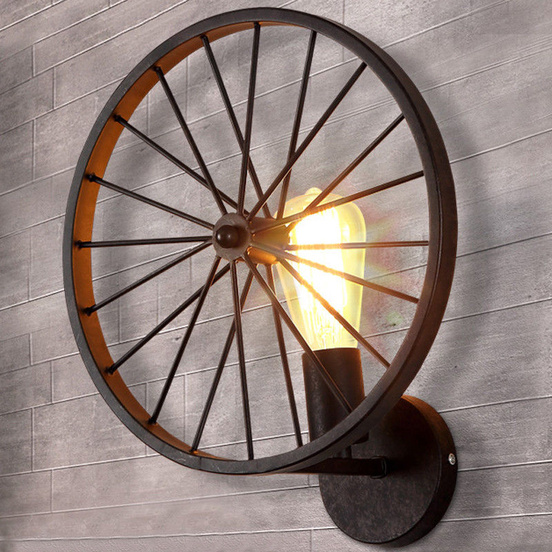 1 Light Loft Vintage Wheel Wall Lamp Sconce Industrial Rustic Light Aged Iron Lighting