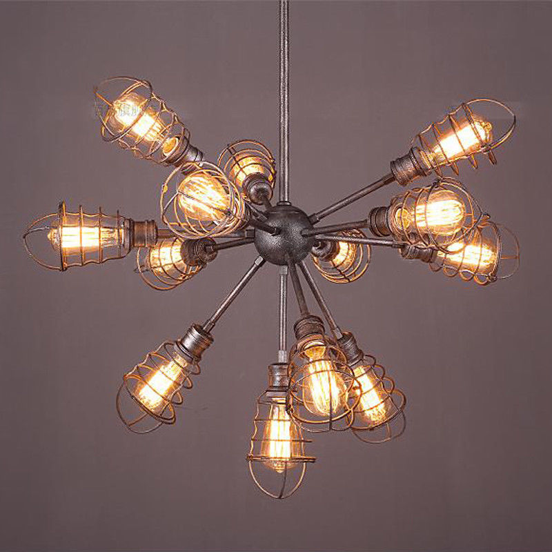13-Lights Loft Industrial Chandelier Pendant Light Steampunk Cage Pendant Lamp