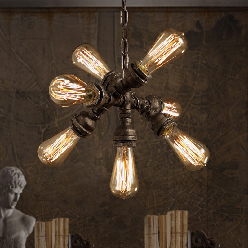 7 Lights Industrial Steampunk Pipe Pendant Light Fixture Adjustable Ceiling Brown
