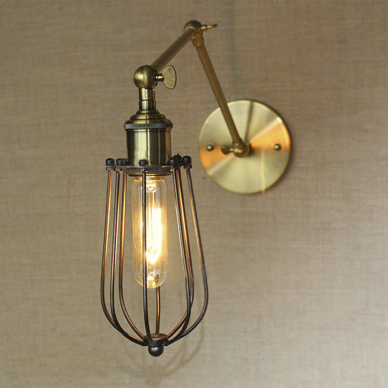 Retro Vintage Wall Lamp Sconce Cage Adjustable Arm Industrial Brass