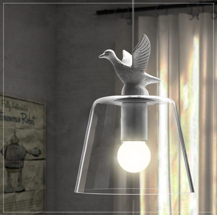 Swan Lake Glass Shade Pendant Light