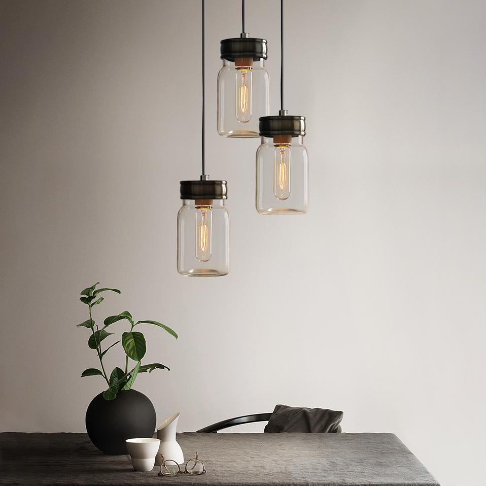 Vintage Retro Mason Glass Jar Pendant Lights With Grey Fabric Cord