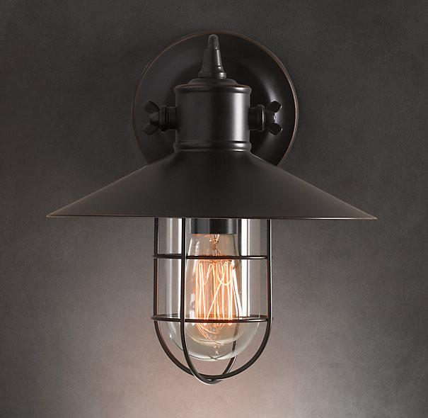 Harbour Sconce Vintage Industrial Wall Light. Warehouse Retro Loft Inspired Design.