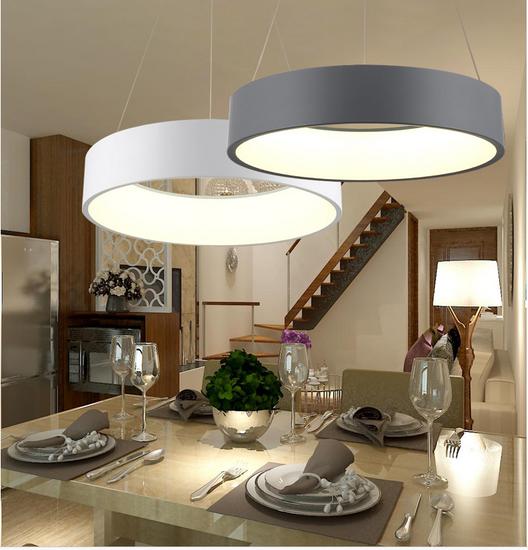 Modern Circle LED Chandelier Acrylic Bedroom Pendant Ceiling Lamp Home Fixtures