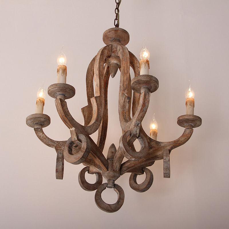 Vintage Rustic Wood Chandelier Dinning Room Lamp