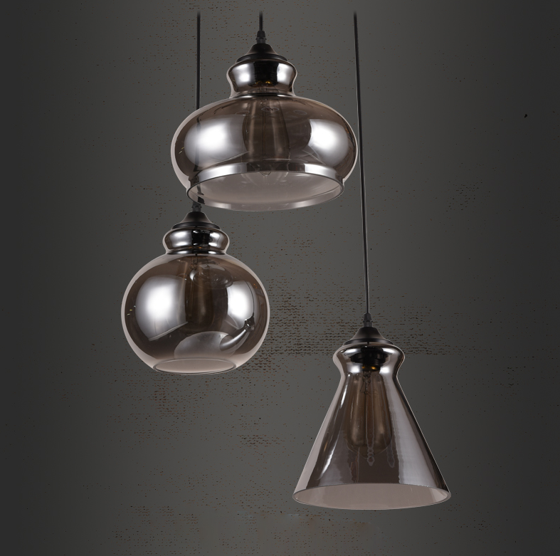 Retro Chrome Glass Pendant Ceiling Lamp Home Decor
