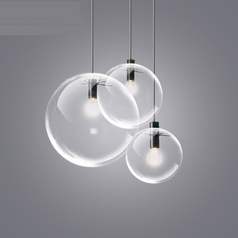 4 Sizes Pendant Lamp Transparent Glass Ball Lampshade