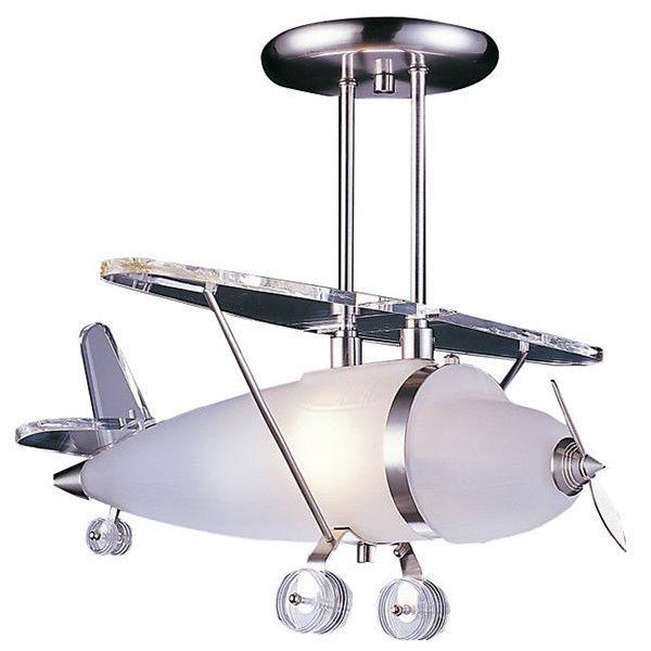 Elk Lighting Satin Nickel Prop Plane Pendant Light Ceiling Lamp for Kid's Room