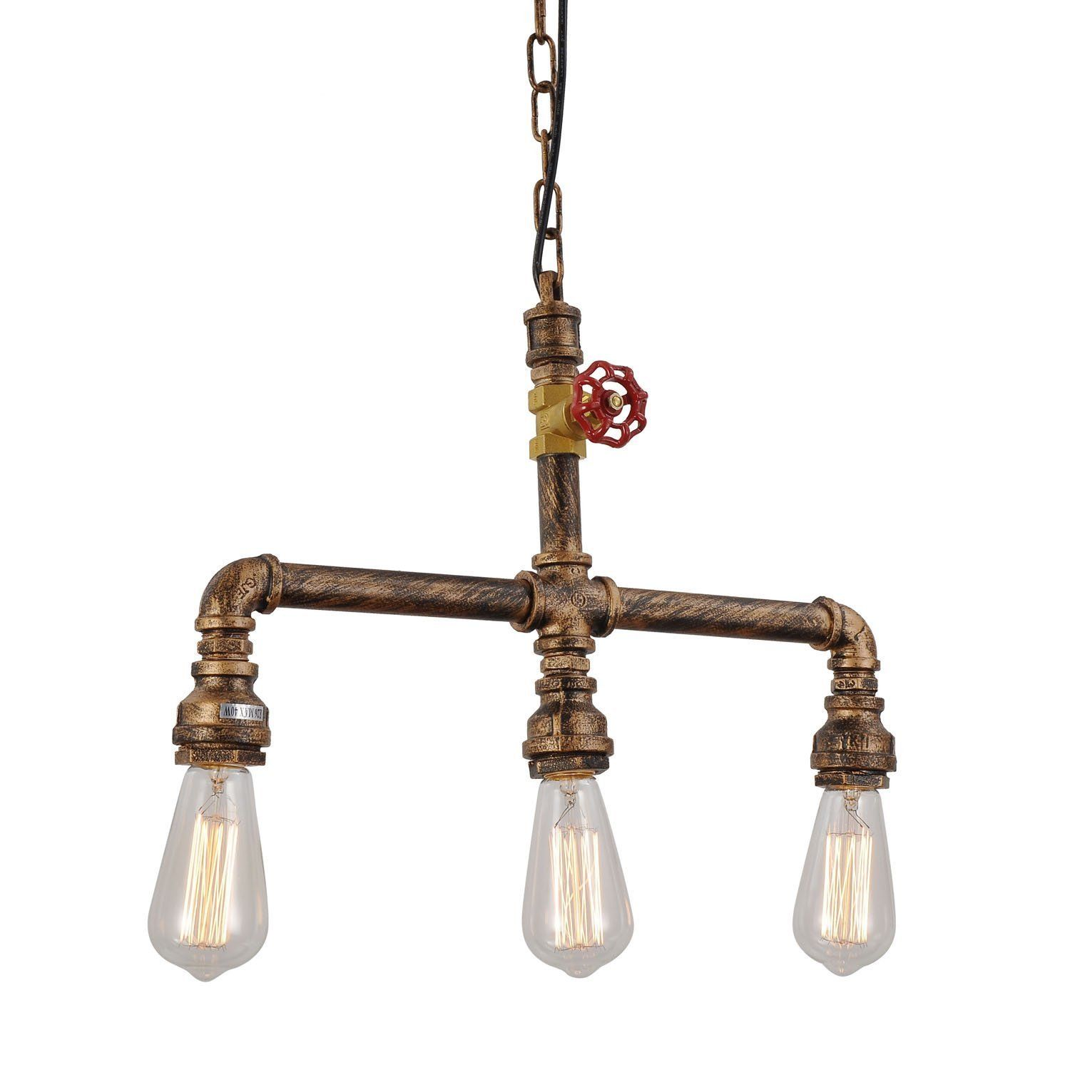 3-Lights Painted Finish Rustic Copper Metal Water Pipe Pendant Light 120W