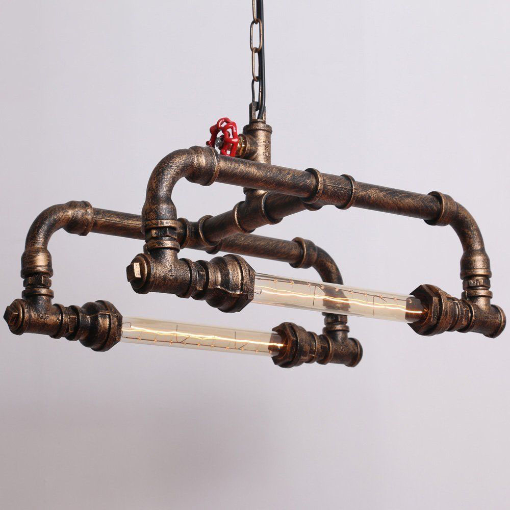 2 Lights Copper Rustic  Water Pipe Ceiling Pendant Light 80W Painted Finish